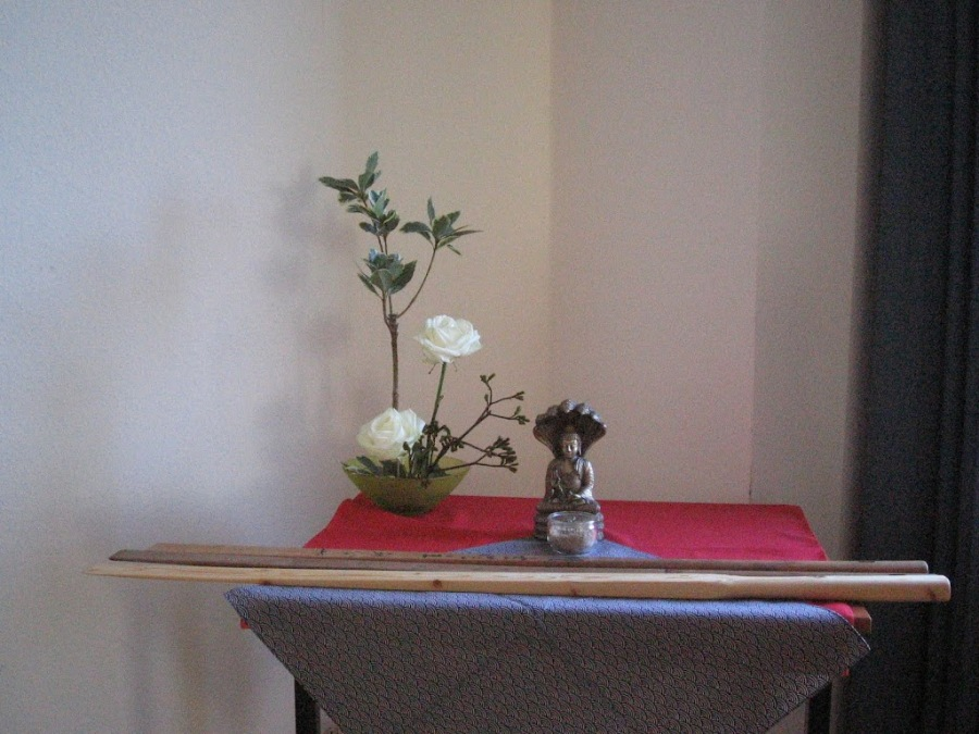 Incense and Flower Arrangement