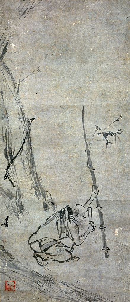 The sixth patriarch cutting bamboo, by Liang-kai